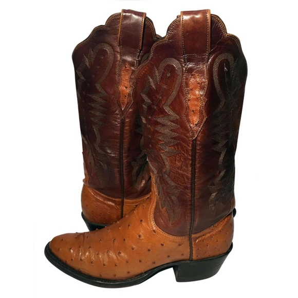 fe2a921937f LUCCHESE 1883 Brown Leather Ostrich Cowgirl Size 7